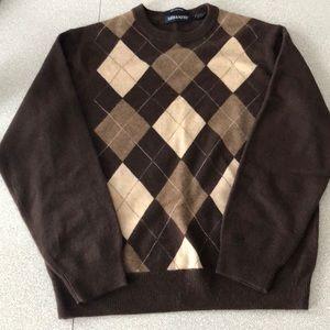 Brown argyle cashmere sweater